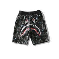 shark japan venda por atacado-2019 Verão Adolescente Hip-hop Calças Curtas Cabeça Tubarão Dos Homens Japão Luminosa Camuflagem Céu Tubarão Boca Noctilucent Shorts