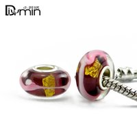 Wholesale Dark Red Charm Beads - 2017 European style Murano Dark red Glass Silver Plating Big Hole Beads Fit Original Pandora Charm Bracelet Jewelry dsc 8011