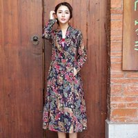 Wholesale Spring Trench Coats For Women - Woman Spring Coat Cotton Linen Floral Print Trench Femme Long Sleeve Plus Size Vintage Long Trench Coat for Women