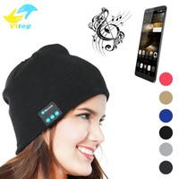 fones de ouvido de feijão venda por atacado-Bluetooth Hat Música Beanie Cap Bluetooth V4.1 fone de Ouvido Estéreo sem fio Fone de ouvido Microfone Alto-falante Handsfree Para IPhone 8 X Música Chapéu