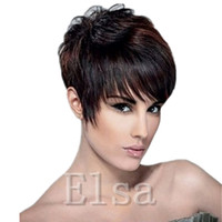 Wholesale Hot Short Hairstyles - Short Human Hiar Wig Indian short pixie human Hair Wigs wigs Full lace wig 100 Human hair wig lace front for black women 2016 hot sale