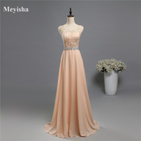 robes de soirée colorées achat en gros de-ZJ5119 2017 dentelle deux épaule champagne couleur mousseline de soie dentelle longue fête perles robes de soirée Formelle Partie Plus Taille