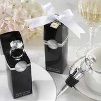 Wholesale ring wine stopper - Wedding Favors Gifts Crystal Diamond Ring Wine Bottle Stopper For Birthday Bridal Baby Shower Wedding Party WA2032