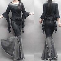 Wholesale Dabuwawa Skirt - Ladies gradient floor long denim fish tail skirt slim expansion bottom tassel denim mermaid ruffle skirt saia longa cintura alta