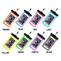 kaplama telefon çini toptan satış-Su geçirmez Cep Telefonu Çanta Kapak iphone 5C 7 iphone6 artı Galaxy s3 iphone5 Boyun Kılıfı Su Geçirmez Çanta Koruyucu Kılıf Evrensel Çin