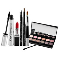 Wholesale Halloween Mascara - Qibest Makeup 6pcs Set Mascara Eyeliner Eyeshadow Eyebrow Pencil Lipstick Multifunction Makeup Set New Arrival 1204003