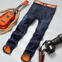Wholesale Mens Fleece Jeans - Wholesale- Brand New mens Fleece Lined jeans,Fashion Warm jeans Autumn Winter Men Jeans Pants Feet Slim Male pantalones vaqueros hombre