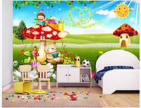 papel pintado de los niños al por mayor-High-end Custom 3d foto wallpaper murales papel de pared Warm children's cabecera 3D living wallpaper wallpaper wall home decor