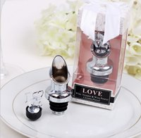 Wholesale Wine Pourer Stopper Favors - DHL Free shipping 100pcs Love Chrome Pourer Wine Bottle Stopper Bridal Shower Wedding Favors and gifts