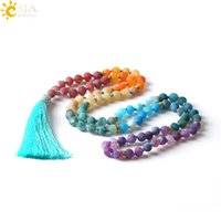 Wholesale Red Agate Mala - CSJA 7 Chakra Long Necklace 8mm Natural Gemstone Mala Beads Tassel Necklaces & Pendants Jewelry Fashion Jewellery Bijoux 2017 Gifts E493
