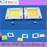 online shopping Led Pcb Modules - Wholesale- AC 110V 220V Driverless ceramic cob module chips 50W high power led PCB assemble floodlights source beads triac dimmable