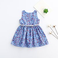 Wholesale Dresses Retro Print Girls - 2017 New Girls Floral Print Dress With Belt Cute Kids Girl Sleeveless Retro Holiday Party Fashion Dresses Wholesale