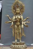 Wholesale Huge Arm - Huge Tibet buddhism bronze gilt 8 Arm GuanYin Kwan-yin Bodhisattva Buddha Statue