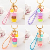 Wholesale Key Chain Favor Gift - Macarons Cake Key Chain Hide Rope Pendant Keychains Car Keyrings Wedding Party Favor and Gifts DHL Free Shipping