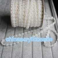Wholesale Roll Pearl String - 25M Roll White Sunflower Flat Back Plastic Pearl Pearlized Bead String Chain Wedding Favor Sewing Trim