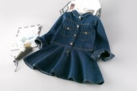 Wholesale Euro Style Turn Down Collar - Euro Girls Lapel Denim Dresses 2017 Fall Kids Boutique Clothing Fashion 3-8 Year Little Girls Long Sleeves Denim Dresses with 2 Pockets