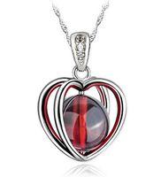 Wholesale Fire Stone Necklace - DHL Fire Opal Pendant Jewelry Design Natural Stone 925 Sterling Silver Necklace Love Heart Garnet Pendant Bohemian Women Jewelry Ladies Girl