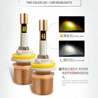 Wholesale 881 Bulb - 45W 5000LM dual color Car LED Headlights H4 H1 H7 H3 H11 9005 9006 9012 880 881 headlamp led bulbs replacement