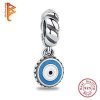 Wholesale sterling silver evil eye charms - BELAWANG 100% Authentic 925 Sterling Silver Charm Beads Evil Eye Pendant For Women Unisex Fit Pandora Original Bracelets&Necklaces Making
