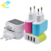 Wholesale Eu Uk Adaptors - US EU Plug 3 USB Wall Chargers 5V 3.1A LED Adapter Travel Convenient Power Adaptor with triple USB Ports For Mobile Phone