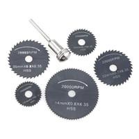 6 pcs HSS lames de scies circulaires outils de coupe rotatifs ensemble  outil multi pour outils électriques outils de coupe de bois dremel perceuse  Mandrel ... b75e9c97dfab