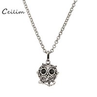 Wholesale Silver Charms For Necklaces Owls - Wholesale Jewelry Pendants Necklaces Fashion Crystal Can open Owl Sweater Chain Long perfume diffuser or picture locket Charm Gift for Women