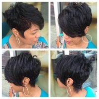 Wholesale bob cut natural african hair - African American Short Bob Wigs For Women Inch Unprocessed Indian Virgin Human Hair Bob Cut Full Lace Lace Front Wigs Glueless