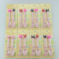 Wholesale Baby Utensils - Cheap Children's Cutlery Fork Spoon Set baby Utensils suit Creative bowknot tableware Spoon fork cartoon Baby Feeding 1503