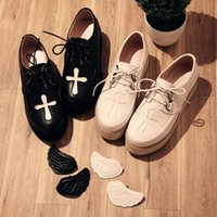 Wholesale Platform School Shoes - Japanese retro Lolita shoes cross wings shoes soft girl school style band platform thick bottom shoes