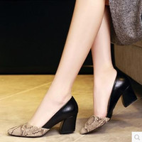 Serpentine Talons hauts Sexy Patchwork Elegant Pumps Low Heels Plateforme Femmes Casual Shoes Slip On Chaussures Femme W88 #