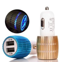 Wholesale Car Light Round - Travel Adapter Dual USB Car Charger Metal 2 Ports Blue Led Light 2.1A Round Square Car Plugs Adapter For iPhone Samsung Huawei