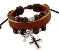 Wholesale Mens Leather Cross Bracelet - Leather Bracelet Black Cross Cuff Bangle Adjustable Buckle Belt Mens Braided Friendship Bracelets Jewelry For Gift New Hot