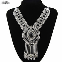 Wholesale Collier Turquoise - SENHUA New Bohemian Tassel Crystal Pendant Colar Statement Necklaces Stone Turquoise necklace jewelry for women Collier Femme MN597