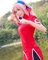 Wholesale Anime Cloths - Naruto Haruno Sakura Cosplay Costume short sleeve uniform clothing party suit personality cloth casual comfortable coat