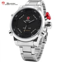 Wholesale Shark Wrist - watch Gulper SHARK Sport Watch Stainless Full Steel Black Japan Movement Relogio Digital Alarm Quartz Military Wrist Mens Clock  SH103