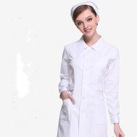 Wholesale Winter Nursing Clothes - Pink white nurse Long sleeve winter professional medical nurses white coats Beauty pharmacy work clothes
