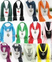 Wholesale Heart Shape Pendant Scarf - Heart Snow Cherry Butterfly Dragonfly Shape Pendant scarf jewelry with beads Mixed 53 Design colorful scarves charms cross necklace