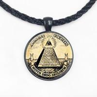 símbolos maçônicos venda por atacado-Wholesale Homem Moda símbolo illuminati maçónica antigo impressão ilustração cartaz pingente de colar de moda jewely DY2