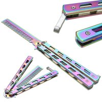 Wholesale Practice Balisong - High Quality Rainbow Color Stainless Steel Folding Butterfly Balisong Comb Cool Practice Training Metal Hair Care & Styling Tool