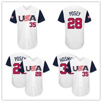 Wholesale T L Name - stitched Men's USA Baseball Buster Posey 28# Eric Hosmer 35# Majestic White 2017 World Baseball Classic Name & Number T-Shirt Free Shipping
