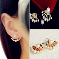 Wholesale Wholesale Earring Stud Backings - New Fashion Women Lady Elegant Pearl Rhinestone Back Ear Stud Earrings Jewelry Cute Chic Design Earing Ear Acc For Summer Dress Jewellry
