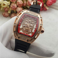 Wholesale Oval Red Gem - Modern Men Luxury brand watch Rubber band Quartz Diamond watches Skull head wristwatches For men's Male Clock Wtach Waterproof Wholesale