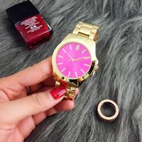 pembe kol saati toptan satış-Lüks Moda Kadınlar İzle Paslanmaz Çelik Lüks Lady Büyük Pembe Kadran Kol Saati Ünlü Yüksek Kalite Kadınlar Elbise Saat Ücretsiz Kargo