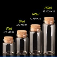 Wholesale Glass Food Covers - Glass Bottles with Cork Crafts Bottles Jars Weding Gift 50ml 80ml 100ml 150ml Empty Jars Containers Bottles 24pcs Free Shipping