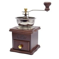 Wholesale Wooden Coffee Grinders - Coffee Makers Home Coffee Grinder With Ceramic Hand Crank Vintage Household Manual Coffee Grinder Mini Retro Wooden Design