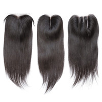 Wholesale Free Hair Dyes - Peruvian Virgin Hair Straight 4*4 Lace Top Closure Middle part Natural Color Can be Dyed Lace closure
