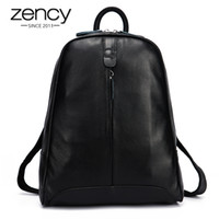 Wholesale Pink Leather Laptop Bag - Wholesale- New 2017 100% Real Soft Genuine Leather Women Backpack Woman Korean Style Ladies Strap Laptop Bag Daily Backpack Girl School