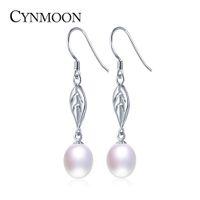 Wholesale hook freshwater pearl earring - Natural Freshwater Pearl Hook Drop Earrings For Women Birthday Anniversary Silver Plated Dangle Leaf Earrings Jewelry