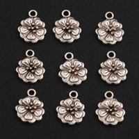 Wholesale Flowers Begonia - Begonia flowers Spacer Charm Beads Hot 180pcs lot Antique Silver Pendants Alloy Handmade Jewelry DIY L344