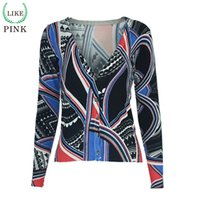 Wholesale Crochet Pattern Long Sweater - Wholesale- LIKEPINK 2016 Autumn Women Cardigans Fashion Printing Pattern Sweater Lovely Christmas Sweater Cashmere Sweater Women Pull Femme